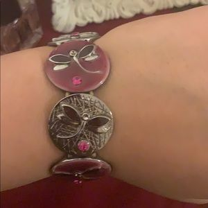 Maroon and silver bracelet